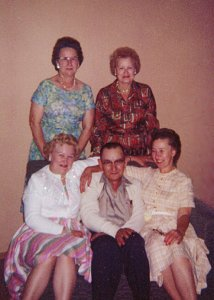Alice Vanasse, Gladys Ague, Ethel Schulz, Walter Lundgren, and Hazel Zetterberg, about 1961